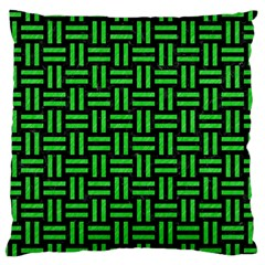 Woven1 Black Marble & Green Colored Pencil Large Cushion Case (one Side)