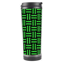 Woven1 Black Marble & Green Colored Pencil Travel Tumbler