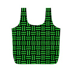 Woven1 Black Marble & Green Colored Pencil Full Print Recycle Bags (m)