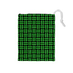 Woven1 Black Marble & Green Colored Pencil Drawstring Pouches (medium)
