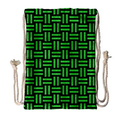 Woven1 Black Marble & Green Colored Pencil Drawstring Bag (large)