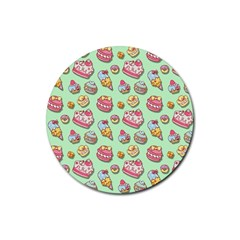 Sweet Pattern Rubber Round Coaster (4 Pack)