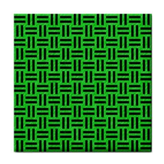 Woven1 Black Marble & Green Colored Pencil (r) Tile Coasters