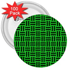 Woven1 Black Marble & Green Colored Pencil (r) 3  Buttons (100 Pack)