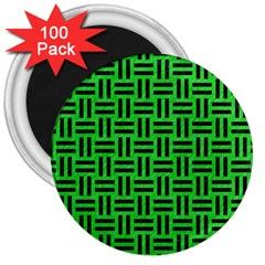 Woven1 Black Marble & Green Colored Pencil (r) 3  Magnets (100 Pack)