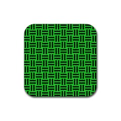 Woven1 Black Marble & Green Colored Pencil (r) Rubber Square Coaster (4 Pack)