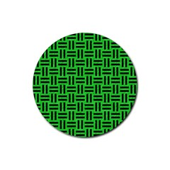 Woven1 Black Marble & Green Colored Pencil (r) Rubber Round Coaster (4 Pack)