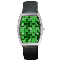 Woven1 Black Marble & Green Colored Pencil (r) Barrel Style Metal Watch