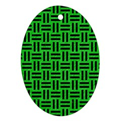 Woven1 Black Marble & Green Colored Pencil (r) Oval Ornament (two Sides)