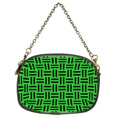 Woven1 Black Marble & Green Colored Pencil (r) Chain Purses (two Sides)