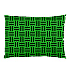Woven1 Black Marble & Green Colored Pencil (r) Pillow Case