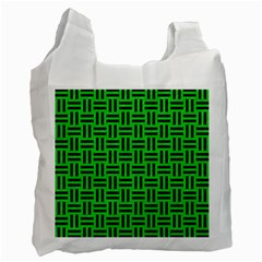 Woven1 Black Marble & Green Colored Pencil (r) Recycle Bag (one Side)