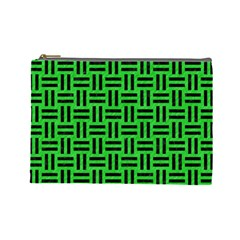 Woven1 Black Marble & Green Colored Pencil (r) Cosmetic Bag (large)