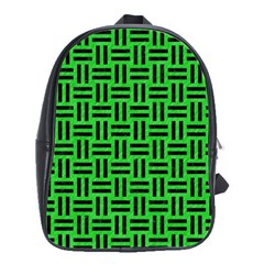Woven1 Black Marble & Green Colored Pencil (r) School Bag (large)