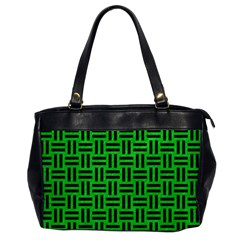 Woven1 Black Marble & Green Colored Pencil (r) Office Handbags