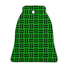 Woven1 Black Marble & Green Colored Pencil (r) Ornament (bell)