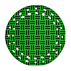 Woven1 Black Marble & Green Colored Pencil (r) Round Filigree Ornament (two Sides)