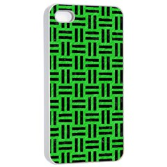 Woven1 Black Marble & Green Colored Pencil (r) Apple Iphone 4/4s Seamless Case (white)