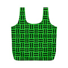 Woven1 Black Marble & Green Colored Pencil (r) Full Print Recycle Bags (m)