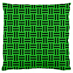 Woven1 Black Marble & Green Colored Pencil (r) Large Flano Cushion Case (two Sides)