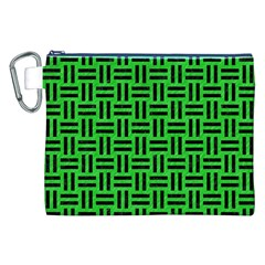 Woven1 Black Marble & Green Colored Pencil (r) Canvas Cosmetic Bag (xxl)
