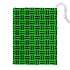 Woven1 Black Marble & Green Colored Pencil (r) Drawstring Pouches (xxl)
