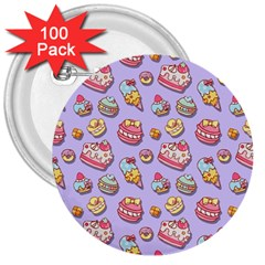 Sweet Pattern 3  Buttons (100 Pack)