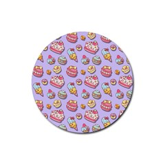 Sweet Pattern Rubber Coaster (round)