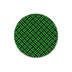Woven2 Black Marble & Green Colored Pencil Magnet 3  (round)