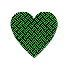 Woven2 Black Marble & Green Colored Pencil Heart Magnet
