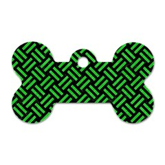 Woven2 Black Marble & Green Colored Pencil Dog Tag Bone (one Side)