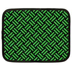 Woven2 Black Marble & Green Colored Pencil Netbook Case (large)