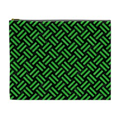 Woven2 Black Marble & Green Colored Pencil Cosmetic Bag (xl)
