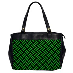 Woven2 Black Marble & Green Colored Pencil Office Handbags