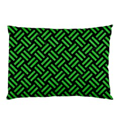 Woven2 Black Marble & Green Colored Pencil Pillow Case (two Sides)