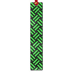 Woven2 Black Marble & Green Colored Pencil Large Book Marks