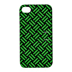 Woven2 Black Marble & Green Colored Pencil Apple Iphone 4/4s Hardshell Case With Stand