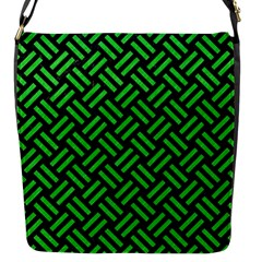 Woven2 Black Marble & Green Colored Pencil Flap Messenger Bag (s)
