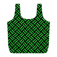 Woven2 Black Marble & Green Colored Pencil Full Print Recycle Bags (l)