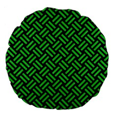 Woven2 Black Marble & Green Colored Pencil Large 18  Premium Flano Round Cushions