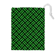 Woven2 Black Marble & Green Colored Pencil Drawstring Pouches (extra Large)