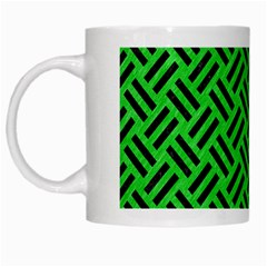 Woven2 Black Marble & Green Colored Pencil (r) White Mugs