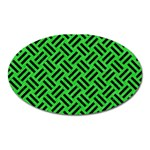 WOVEN2 BLACK MARBLE & GREEN COLORED PENCIL (R) Oval Magnet Front