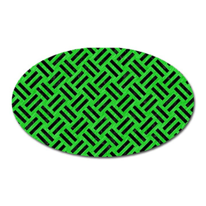 WOVEN2 BLACK MARBLE & GREEN COLORED PENCIL (R) Oval Magnet