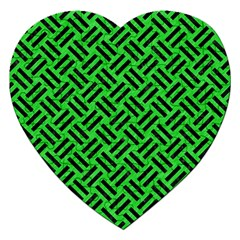 Woven2 Black Marble & Green Colored Pencil (r) Jigsaw Puzzle (heart)