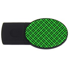 Woven2 Black Marble & Green Colored Pencil (r) Usb Flash Drive Oval (4 Gb)