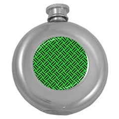 Woven2 Black Marble & Green Colored Pencil (r) Round Hip Flask (5 Oz)