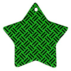 Woven2 Black Marble & Green Colored Pencil (r) Star Ornament (two Sides)