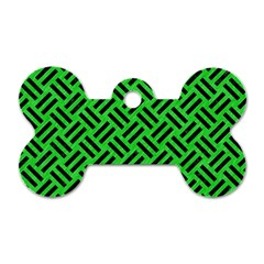 Woven2 Black Marble & Green Colored Pencil (r) Dog Tag Bone (one Side)