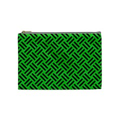 Woven2 Black Marble & Green Colored Pencil (r) Cosmetic Bag (medium)